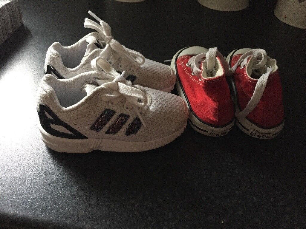 Adidas trainers & red converse