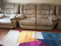 Bargain- 3 seater recliner sofa & 2 recliner arm chairs