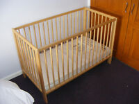 COT/BED Ikea Gulliver complete with Kiddie Care foam mattress.