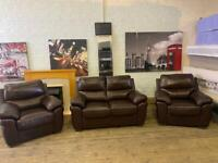 HARVEYS REAL LEATHER SOFA SET 2-1-1 seater IN EXCELLENT CONDITION