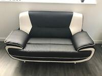 Black/ White leather 2 seater sofa, Brand new!!