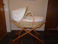 Mamas and Papas moses basket, original wooden stand, 2 sheets.