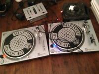 Record decks x 2 and mixer
