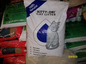 White Kitty-Dri cat litter 20 litre 10KG bag. - £8.00 per bag.