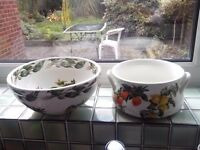 PORTMIRIAN POTTERY LARGE MIXING BOWL AND SERVING DISH