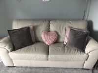 Light Grey 3 Seater Leather Sofa