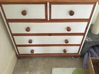 Chest of drawers and 2x bedside tables