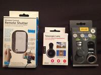 Wireless Control Remote Shutter, 3-in-1 Camera Clip Lens, and Telescopic Clip On Lens