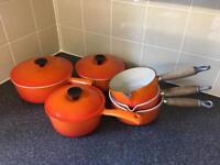 Orange le creuset pans 2 x 16cm 2 x 18cm, 20cm and 22cm pans and 18cm, 20cm and 22cm lids