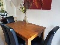wooden slider table and 4 chairs 220Ł, coffee table 100Ł