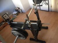 Bench press, with 80kg iron weights two barbells