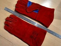 Thick leather fireplace gloves (1 pair) (gauntlet)