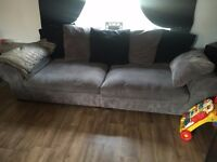 large 4 and 3 seater sofa's grey and black, from a smoke and pet free home