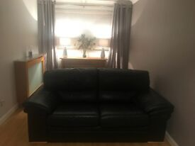Black Leather Sofa, Chair & Footstool