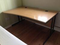 Senator Left Hand Wave Light Oak Office Desk 160 cm