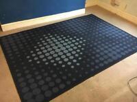 Blue & white large spotty carpet rug
