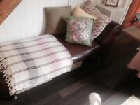 Antique leather chaise lounge