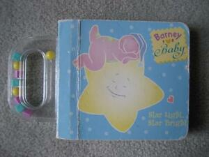 BARNEY FOR BABY BOARD BOOK/RATTLE - Star Light/Star Bright