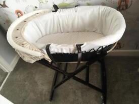 Doormouse Interiors Dark Wood Moses Basket and Rocking Stand