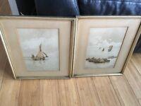 "Watercolour ""Rocks Near Banff"" & ""Hull Fishing Boat"" framed R.Ashworth Manchester antique artwork"