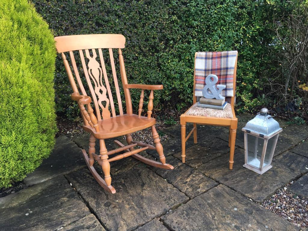 Antique PINE Rocking Chair Wood Shabby Chic Fiddleback - Antique PINE Rocking Chair Wood Shabby Chic Fiddleback In Batley