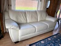 Cream Leather Suite - Sofa and 2 x Reclining Chairs