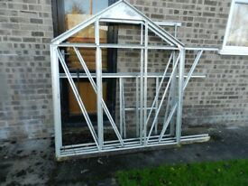 8' X 6' Alluminium Greenhouse Partly dismantled complete with all glass, and one perspex sheet