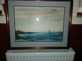 ORIGINAL WATER COLOUR OF SAILING BOAT, WITH RED SAIL , IN THE OCEAN