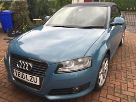 Excellent Audi cabriolet 1.6 TDI Sport for sale blue metallic with blue roof, includes wind break