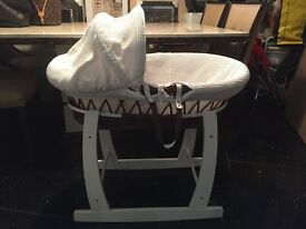 Beautiful Wicker Baby Moses Basket with rocking stand
