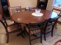 REGENCY REPRODUCTION DINING TABLE & 6 CHAIRS
