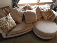 dfs 3 seater sofa couch, cuddle chair and pouffe