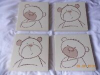 Set of 4 canvass wall pictures for child or baby nursery - teddy bear