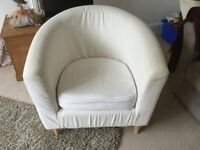 Two cream calico ikea tub chairs