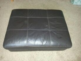 DARK BROWN LEATHER FOOTSTOOL WITH STORAGE.