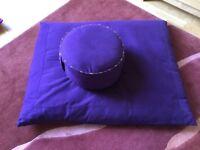 Zafu and Zabuton Meditation Cushion Set Purple (as new)