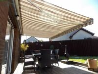 SUN CANOPY/ PATIO AWNING - 5m x 3m - FULL ELECTRIC WITH REMOTE CONTROL & WIND SENSOR