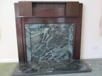 wood and marble fire surround