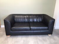 Second hand - Black leather sofa for sale £25.00
