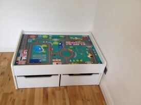 White play table with drawers