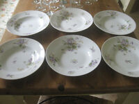 """6 x 9.5"""" (24cms) beautiful flower patterned dishes marked E. Bourgeois Paris"""