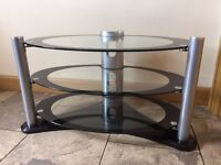 Modern Black and Clear Glass TV Stand with Three Shelves