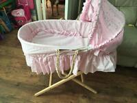 PINK MOSES BASKET, STAND & BEDDING