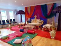 Asian Wedding stages hire, Mendhi stages, house lighting, centrepieces, table covers etc