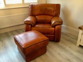 Genuine Leather Armchair and Foot Stool