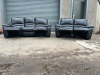 Black dfs leather 3&2 seater recliner sofas, couches furniture
