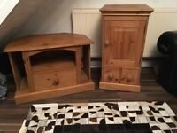 SOLID PINE TV UNIT AND MATCHING SMALL SIDE CUPBOARD