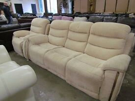 New -Graded Cream Fabric Recliner sofa settee and Armchair set Home Sofa Lounge Chair