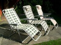 SET OF 3 GARDEN GRAVITY SUN LOUNGER FOLDING SUN RECLINING CHAIRS