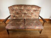 RETRO vintage spindle back two seat sofa Floral cushions